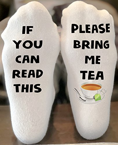 If you can read this socks | Bring me a tea socks | funny christmas gift | Stocking Stuffer | Tea Lover Gift | Writing on Socks by California Social Hour