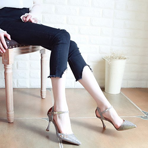 Xue Bien con Zapatos Consejos Qiqi con de de ranurado Solo Tacones de Moda Silver Metal Baile Tribunal Zapatos Hembra Sandalias Altos Zapatos Mujer Zapatos Hebilla rrnqcwFW