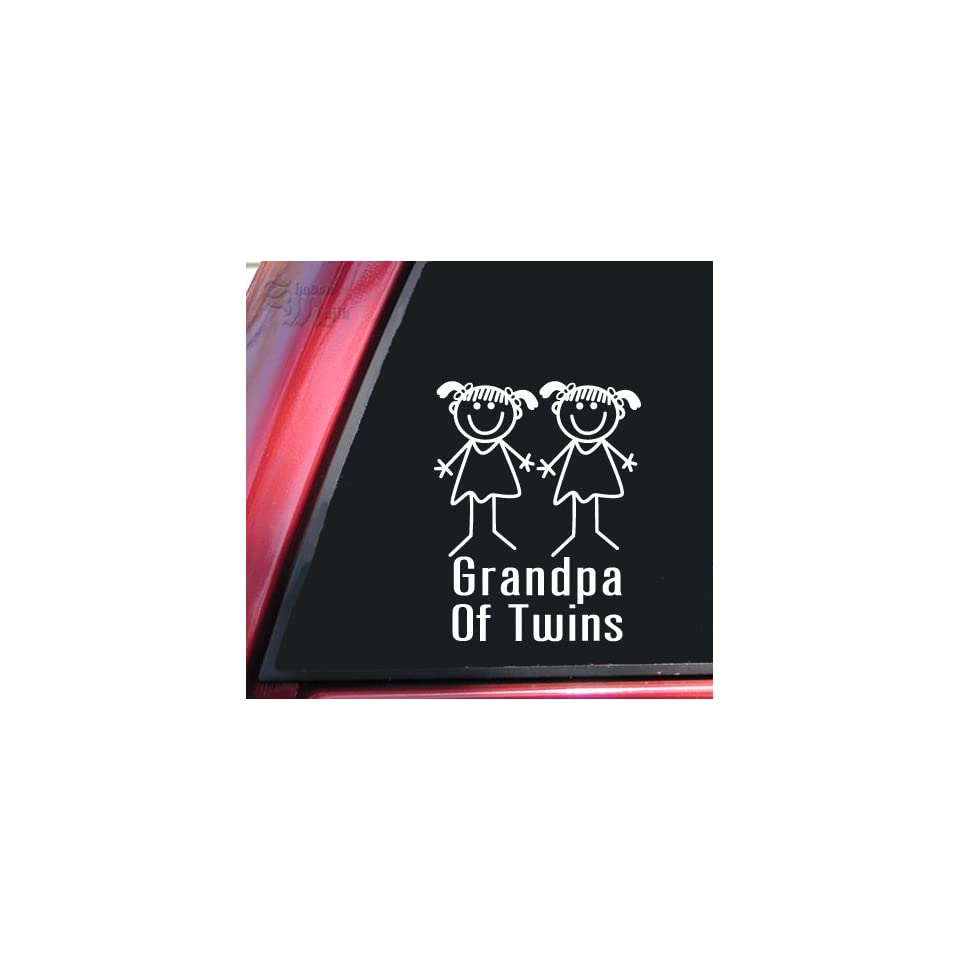 Grandpa Of Twins Girl/Girl White Vinyl Decal Sticker