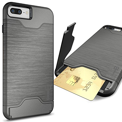 CoverON [SecureCard Series] Fit iPhone 8 Plus Case with Card Holder, iPhone 7 Plus Case, Protective Hybrid Cover with Card Slot and Kickstand for Apple iPhone 8 Plus/iPhone 7 Plus - Gunmetal Grey