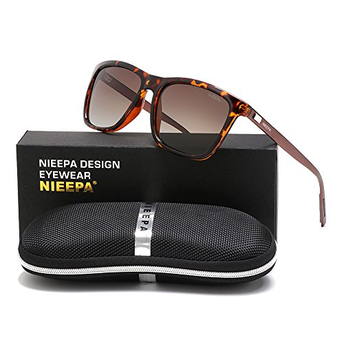 NIEEPA Square Polarized Sunglasses Aluminum Magnesium Temple Retro Driving Sun Glasses (Brown Lens/Leopard - Polaroid By Sunglasses