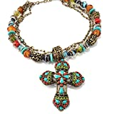 Large Mayan Cross Pendant Necklace, Navajo Western Beaded Necklace, Inspirational Religious Jewelry