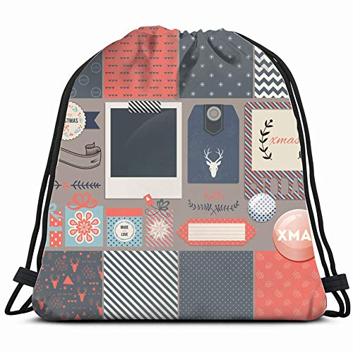 - scrapbook design elements christmas decorations photo holidays Drawstring Backpack Gym Sack Lightweight Bag Water Resistant Gym Backpack for Women&Men for Sports,Travelling,Hiking,Camping,Shopping Yo