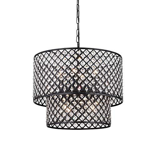 Antique Black 8-light Double Round Crystal Chandelier Antique Bronze Eight Light Chandelier