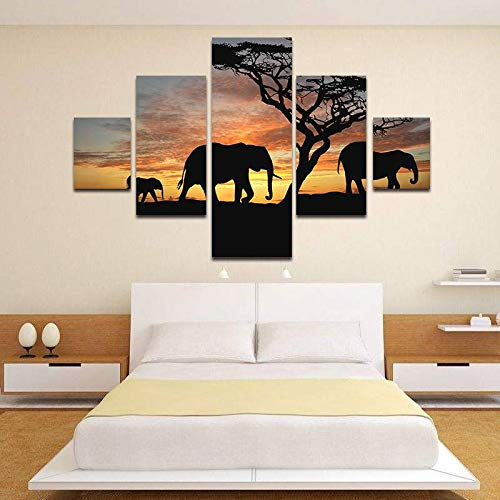 BFY Unframed Modern Oil Painting Elephants At Sunset Huge Wall Decor Art On Canvas