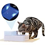 Eleoption 1.8L Large Capacity Automatic Pets Water Drinking Filter Fountain Bowl with LED Light Safety for Dogs Cars (1.8L with Light+UV)