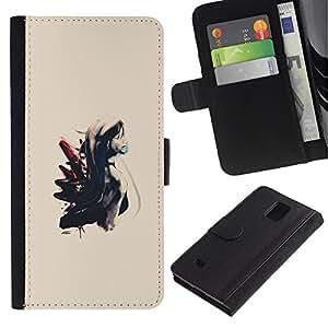 LECELL--Cuero de la tarjeta la carpeta del tirón Smartphone Slots Protección Holder For Samsung Galaxy Note 4 IV -- Pintura de la muchacha --