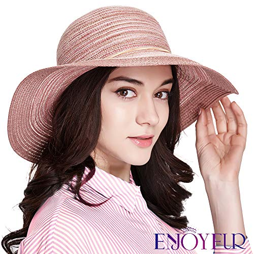 0dd2a372 ENJOYFUR Floppy Wide Brim Sun Hats for Women,Foldable Summer Beach hat,UPF  50