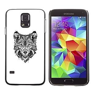 Negro Hound White Dog Canine Sketch- Metal de aluminio y de plástico duro Caja del teléfono - Negro - Samsung Galaxy S5