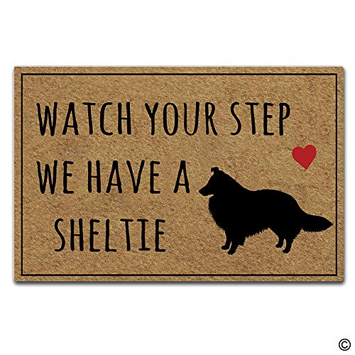 Artswow Watch Your Step We Have A Sheltie Funny Doormat Entrance Floor Mat with Non-Slip Rubber Backing Door Mat, 23.6 by 15.7 - Watch Sheltie