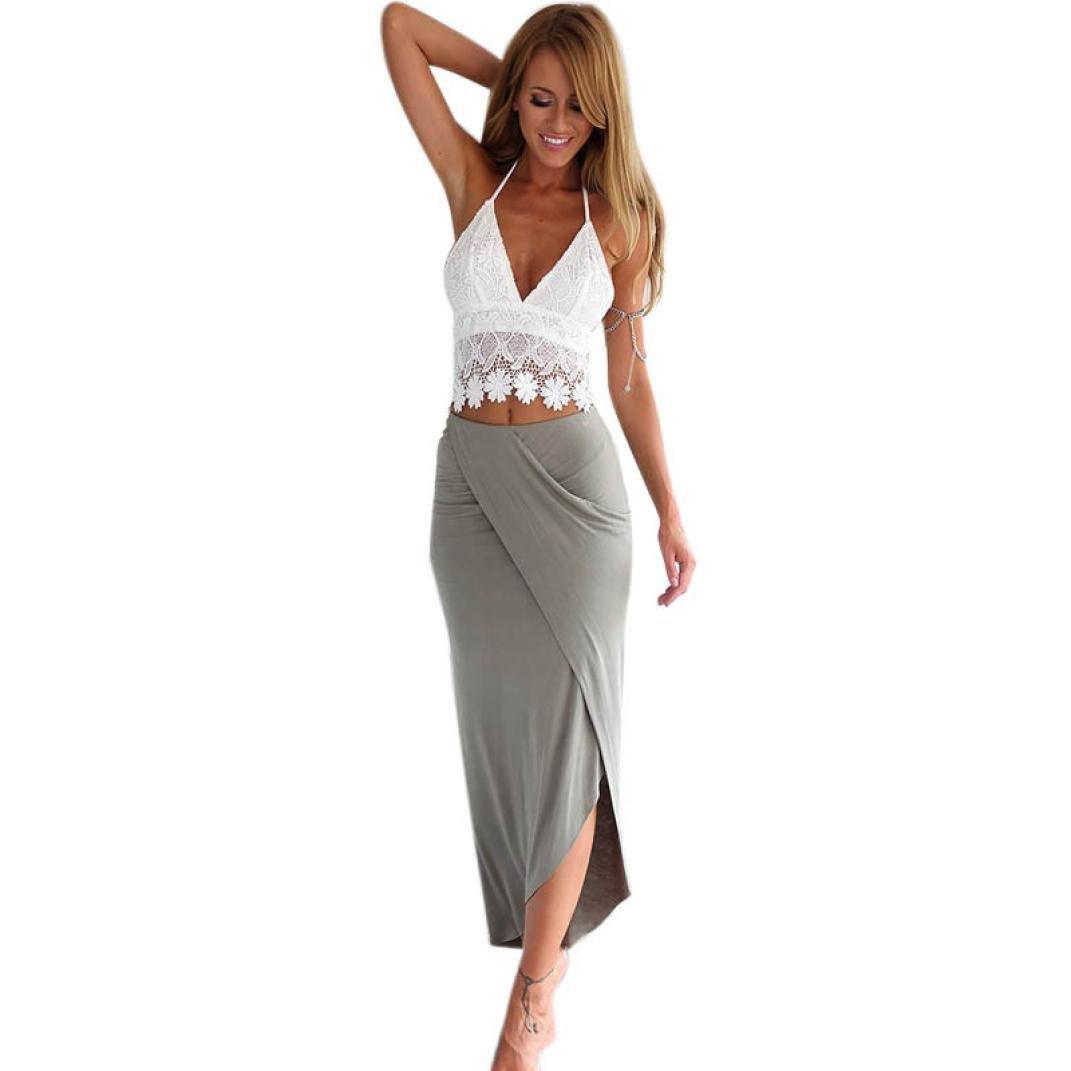 Bafaretk Womens Bodycon Slim Bandage Lace Backless Two Piece Crop Tops & Skirt Dress Set (S, Grey)