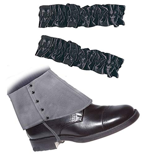 Roaring 20's Armband Garter & Gangster Spats Set for 1920s Mens Accessory,Grey Spats & Black -