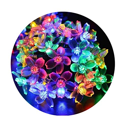 Fullbell Flower String Lights, Sakura Lights, Indoor/Outdoor Decorative String Lights, Fairy Twinkle Wire Lights with 8 Flash Changing Modes for Christmas/Patio/Garden/Party (33ft 100LED Multi-Color) (For Flower Lights Bedroom String)