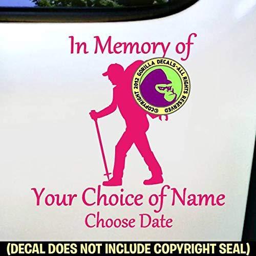 MEMORIAL Hiker ADD CUSTOM WORDS Vinyl Decal Sticker A