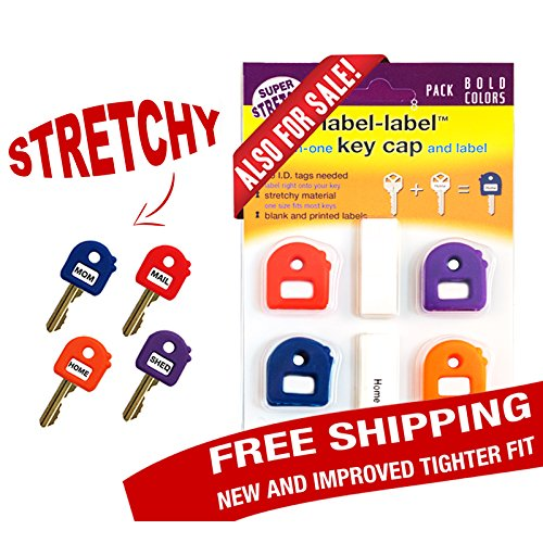 Key Caps Tags - Stretchy All-in-One Key Cover & Tags - ONE SIZE FITS MOST KEYS - 8 Pack Bold color - Includes Blank Labels and Printed Labels - Key Covers, Name Tags, Identify Tag