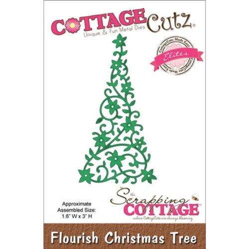 CottageCutz Elites Die Cuts, 1.6 by 3-Inch, Flourish Christmas (Flourish Christmas Tree)