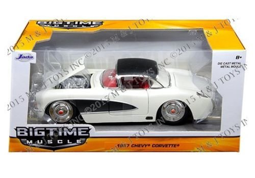 New 1:24 W/B BIG TIME MUSCLE - CREAM 1957 CHEVROLET CORVETTE Diecast Model Car By Jada -