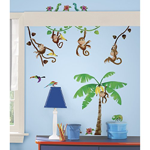 RoomMates RMK1676SCS Morrow Monkeys Peel & Stick Wall Decals (Monkey Wall Decals For Nursery)