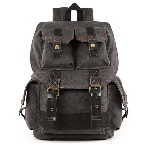 Kattee Fashion Canvas DSLR SLR Camera Case Backpack Rucksack Bag for Sony Canon Nikon Olympus Pentax(Deep Gray)