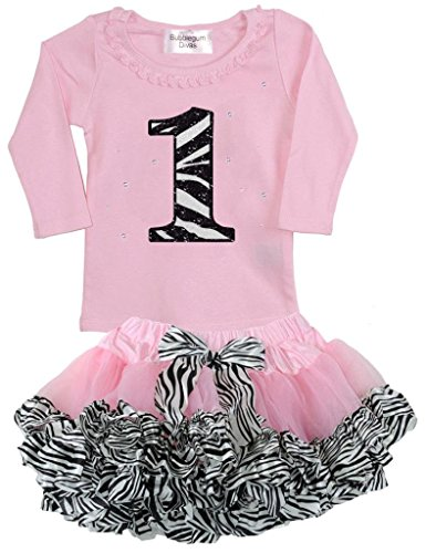[Bubblegum Divas Baby Girls 1st Birthday Pink Zebra Print Animal 2pc Outfit 18mos] (Jungle Outfit)