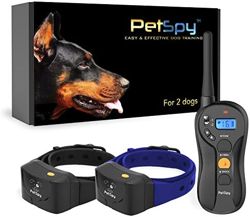PetSpy P620B Dog Training Shock Collar for 2 Dogs with Vibration, Electric Shock, Beep Fully Waterproof Remote Trainer with Two E-Collars, 10-140 lbs