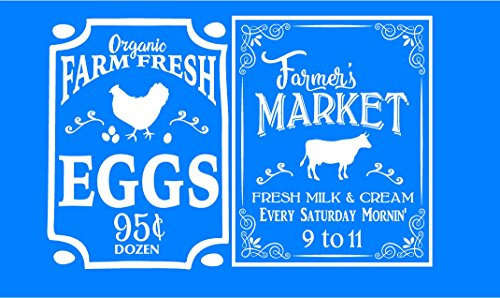 Walls with Style Farm Fresh Eggs and Milk Wall Decal, Farmers Market Style, Country Kitchen (White)