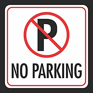 6 Pack 12x12 Aluminum No Parking Print Picture Parking Car Lot Work Zone Street Road Notice Signs Commercial Metal S