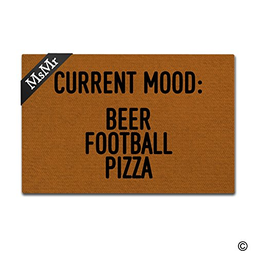 MsMr Funny Doormat Entrance Door Mat Current Mood Beer Football Pizza Floor Mat Indoor Outdoor Decorative Rubber Doormat Machine Washable 30 by 18 Inch (Mood Beer)