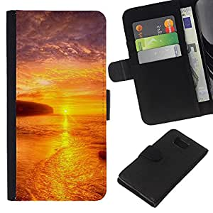 KLONGSHOP // Tirón de la caja Cartera de cuero con ranuras para tarjetas - Puesta de sol Mar Beautiful Nature 21 - Samsung ALPHA G850 //