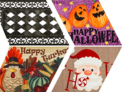Evergreen Flag Fall and Winter Holidays Interchangeable Sassafras Mats and Tray, Set of 4