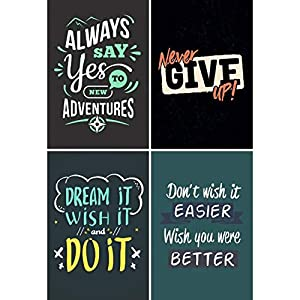 Craft Qila Never Give Up Inspirational Motivational Self Adhesive Posters (300 GSM Paper, .45 x 30 x 2 cm) – Pack of 4