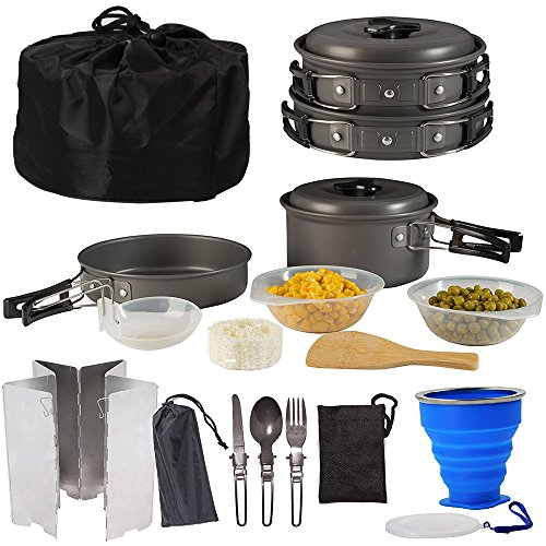 Camping Cookware Kit,Pots & Pans,Burner Windshield,Spork, Silicone Folding Cup,Aluminum Cookware Equipment, Lightweight & Collapsible for Backpacking Gear & Hiking Outdoors Cooking by ezyoutdoor