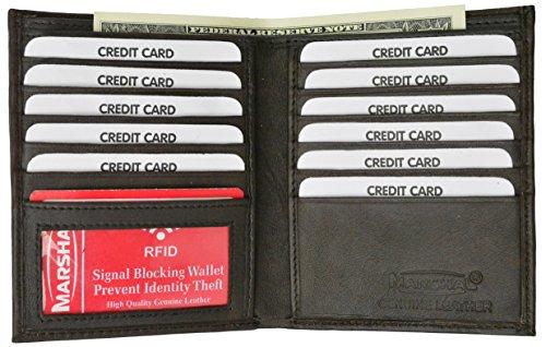 RFID Blocking Bifold Hipster Credit Card Wallet Premium Lambskin Leather (Brown) ()