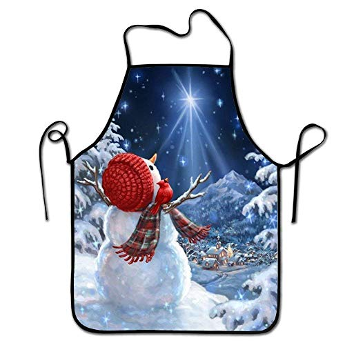 dhf016974s Winter Snowman Looking Up The Sky Kitchen Aprons Long Tie Bib Apron Adult's Aprons Lightweight Adjustable Neck Strap Chef Apron for Cooking BBQ