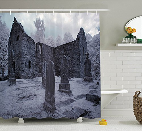 Gothic Decor Collection Old Gothic Cemetery Church Tomb and Tombstone Mysticism Spooky Forest Style Polyester Fabric Bathroom Shower Curtain Cloudy (Cute Halloween Tombstone Sayings)