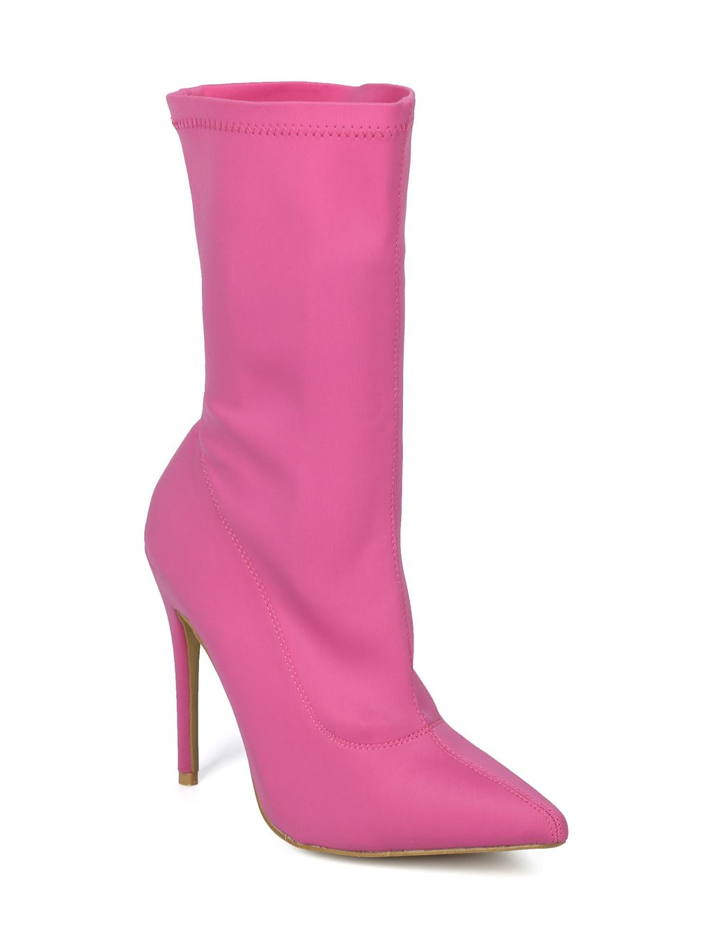 Alrisco Women Stretch Fabric Mid-Calf Pointy Toe Stiletto Sock Boot HF44 - Hot Pink Lycra (Size: 7.5)