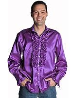 Mens Purple Frill Shirt Deluxe Small Fancy Dress