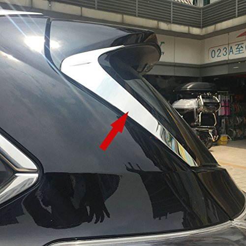 Beautost Fit for Toyota Highlander 2015 2016 2017 2018 2019 Chrome Rear Spoiler Wing Side Beveled Window Cover ()
