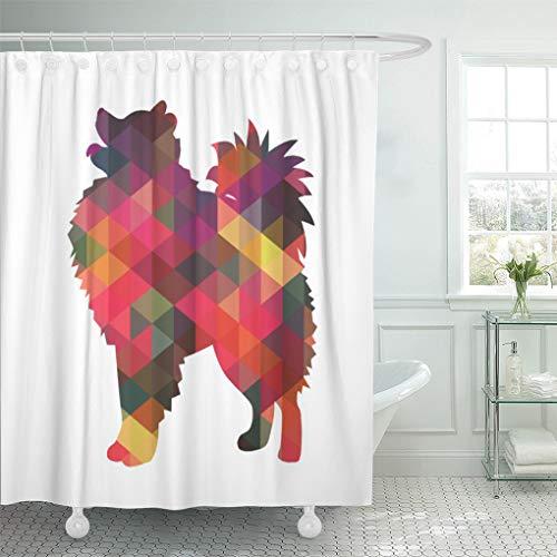 Semtomn Shower Curtain Watercolor Eskie American Eskimo Dog Silhouette Samoyed Pomeranian Geometric 72