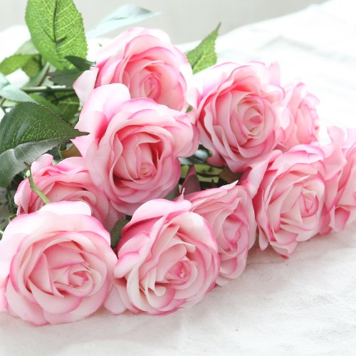 DIY Artificial Silk Craft Decoration Flowers Bridal Bouquets, Weddings, Wreaths, & Crafts, Single Closed Rose Bud Stem 1 Bunch of 12pcs (Light (Light Pink Flower)