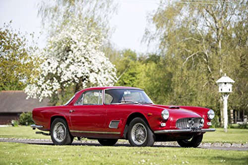 "Maserati 3500 (AM101) GTi Coupé (1961-1964) Car Print on 10 Mil Archival Satin Paper Red Front Side Static View 16""x20"""