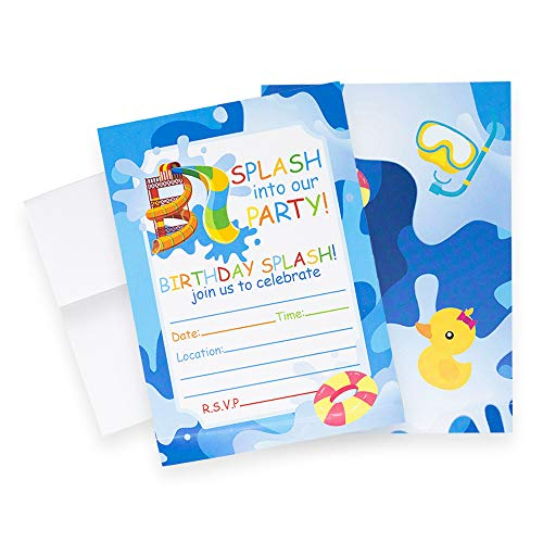 Discount Party Invitations (Pool Party Invitations (Quantity of 20), Birthday Party, Larger Sized with Vivid Colors, Summer Pool Party Supplies, Envelopes)