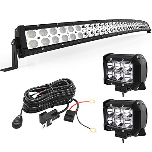LED Light Bar YITAMOTOR Curved 50 Inch 288W Light Bar Combo + 2 PCS 18W Spotlight with Wiring Harness compatible for Truck ATV Jeep, IP67 Waterproof LED Lights