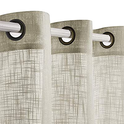 VOILYBIRD Palma Linen Semi Sheer Curtains 84 Inch Length Living Room Draperies & Curtains Bronze Grommet (52''W x 84''L, 2 Panels, Beige) - Each package includes 2 panels. Each panel size 52'' wide 84'' long, total size 104''x84'' Bronze grommet top, perfectly fit 1.5'' curtain rod, high quality workmanship and stitching work Linen textured weave and luxurious looking style, be featured with subtle cross on sheer curtains - living-room-soft-furnishings, living-room, draperies-curtains-shades - 51Cc90L0oiL. SS400  -