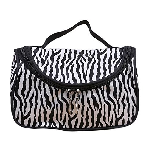 Garrelett Cosmetic Tote Bag Zebra Stripes Zipper Nylon Makeup Organizer Handbag Beauty Toiletry Pouch for Women Girls -