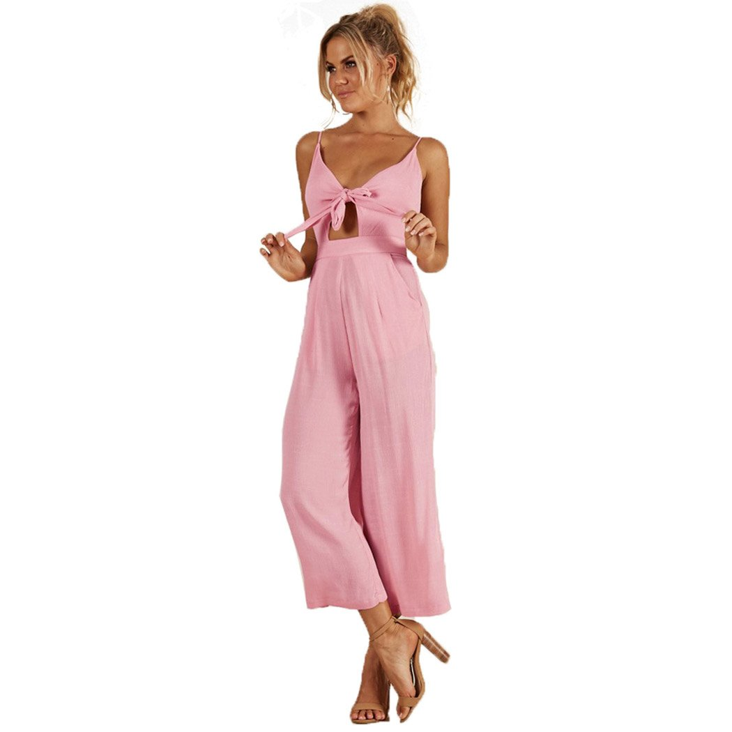 ALAIX Women's Sexy Deep V Neck Jumpsuit Spagetti Strap Lace up Romper Bandage Jumpsuit Pink S