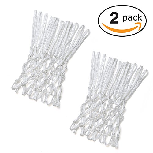 Professional Polyester White Basketball Net All-Weather Heavy Duty Net by Miracol, Ideal for Outdoor & Indoor, 2 Packs (13 Loops)