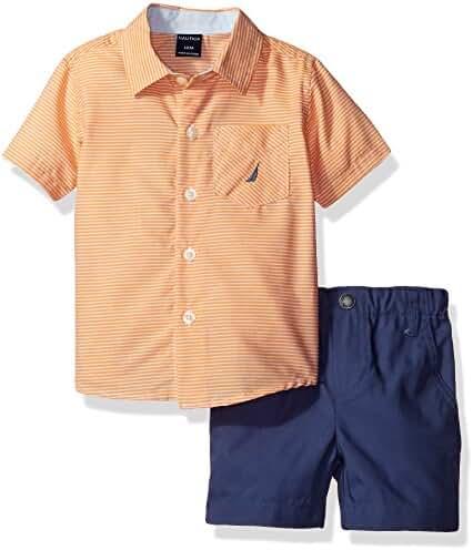 Nautica Baby Boys' Sleeve Woven and Pull on Short Set, Orange