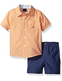 Nautica Boys' Short Sleeve Mini Stripe Button Down Shirt and Pull on Short Set