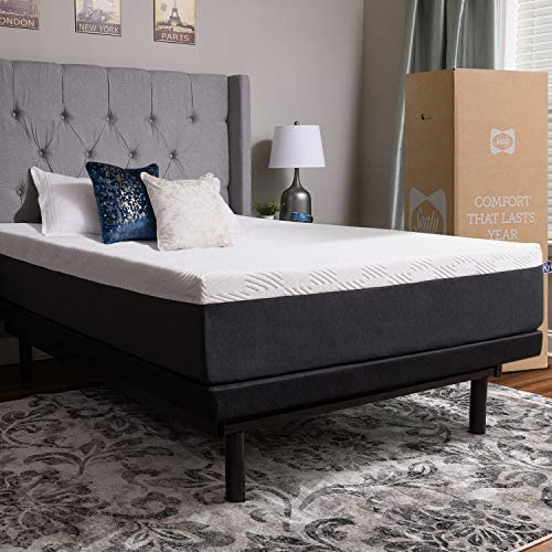 King Size 10 Inch Thick, 4 Pound Density Visco Elastic Memory Foam Mattress Bed with Gel Made in The USA